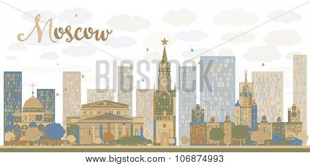 Moscow City Skyline in blue and brown color. Business travel and tourism concept with modern buildings. Image for presentation, banner, placard and web site.