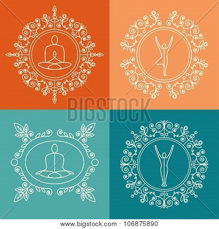 Set of monograms with floral ornament for yoga studio, class, yoga retreat.
