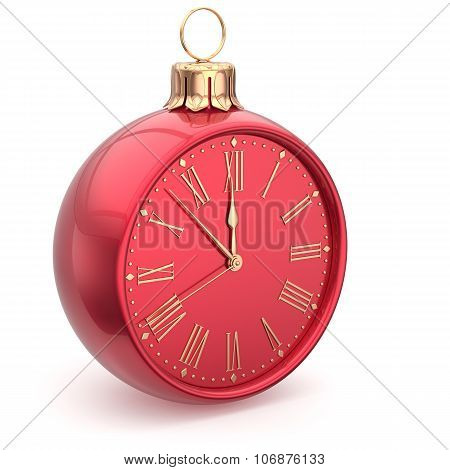 Christmas Ball Midnight Clock Decoration Happy New Year Time