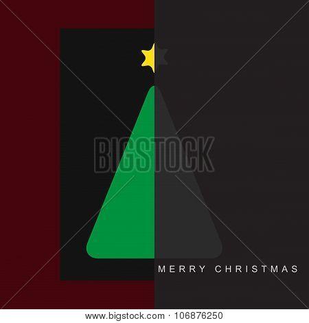 Greeting Card, Christmas Halved Green Tree