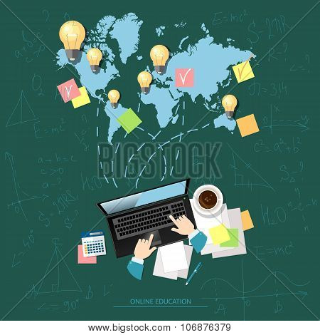 Online Education Concept E-learning Global Distance Education And Graduation Vector Illustration