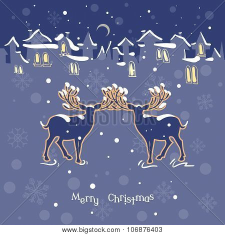 Merry Christmas. Calendar 2016. Two Beautiful Deer Christmas Night Snow Town Vintage Vector