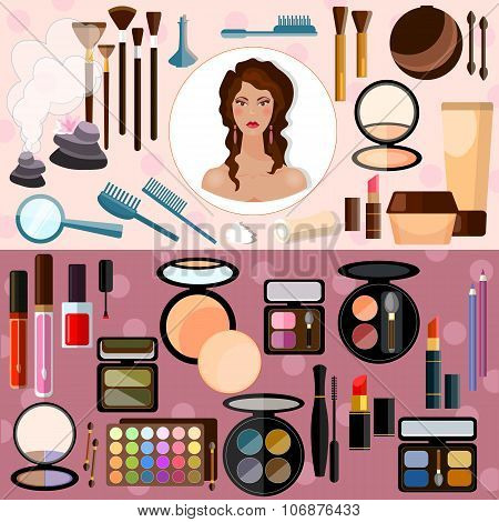 Make-up Collection Of Professional Cosmetics Beautiful Woman Face Vector Banners