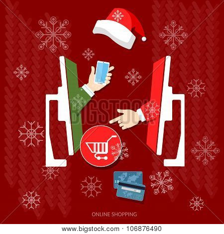 E-commerce And Online Shopping Christmas Shopping Holiday Sale Discount Santa Hat Online Store