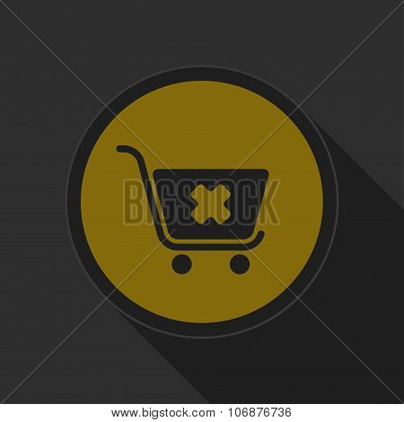 Dark Gray And Yellow Icon - Shopping Cart Cancel