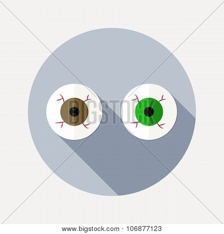 Flat design two eyeballs icon with long shadow