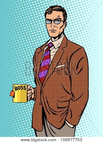 Serious businessman boss mug tea