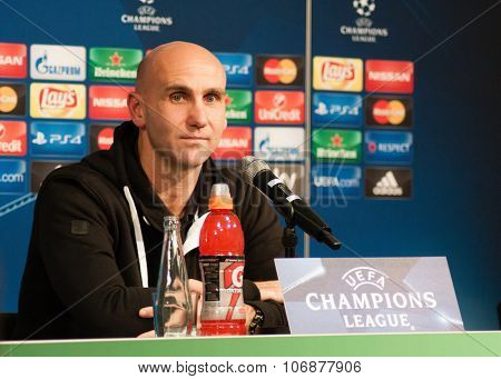Monchengladbach, GERMANY - 2nd NOVEMBER, 2015: Press conference ahead of UEFA Champions League group match Borussia Monchengladbach vs. Juventus FC.