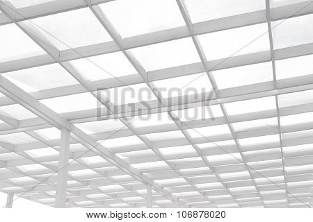 White wooden roof of sunbeds on the beach, close up