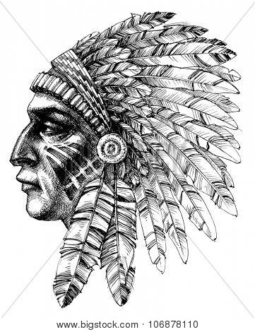 Native american indian warrior profile with war headdress, t-shirt design