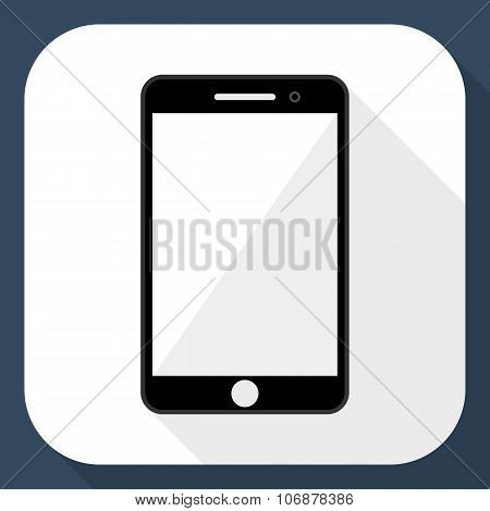 Smartphone Flat Icon With Long Shadow