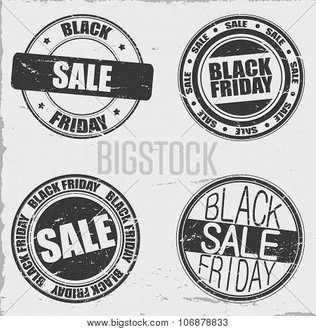 Black friday stamps set