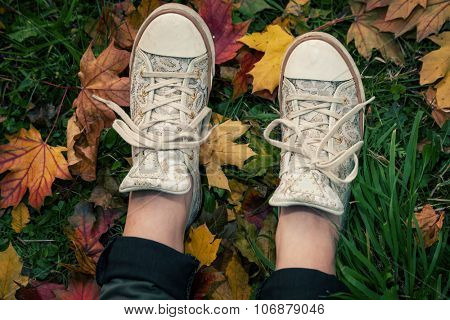 young girl in sneakers on grass with red and yellow fallen leaves, autumn concept, shot from above