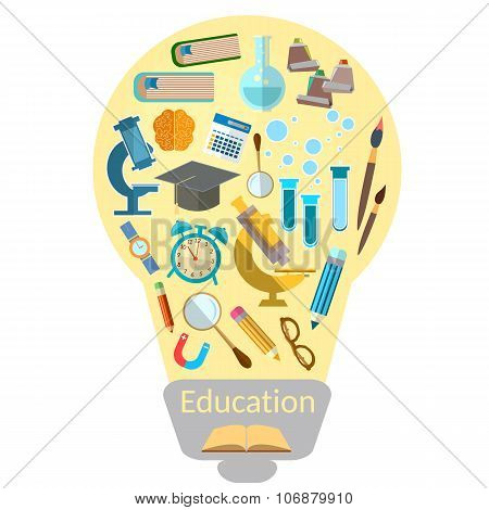 Education Effective Training Light Bulb With Colorful Education Icon Vector Illustration