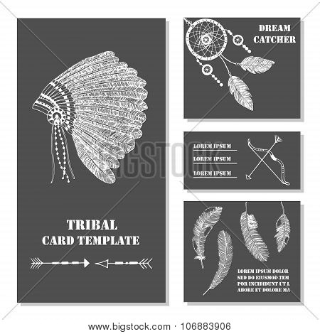 Set of tribal ethnic indian business card with feathers bow headdress. Vector background tepmlate.