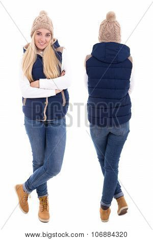 Front And Rear View Of Beautiful Blond Woman In Warm Clothes Posing Isolated On White