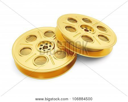 Golden Film Reels Isolated On White Background