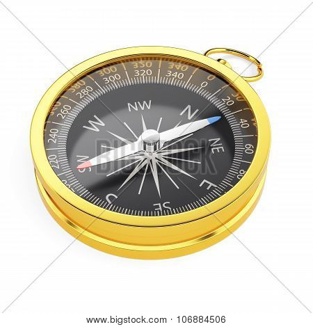 Golden Compass Isolated On White Background