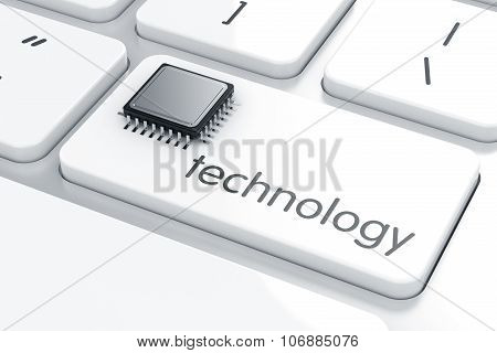 Computer Microprocessor On The Laptop Keyboard. Technology Concept