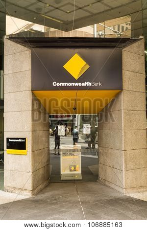 SYDNEY, AUSTRALIA - DECEMBER 31, 2014: The Commonwealth bank building is located on 254 Georges Street and is home to one of Australia's most important financial institution.