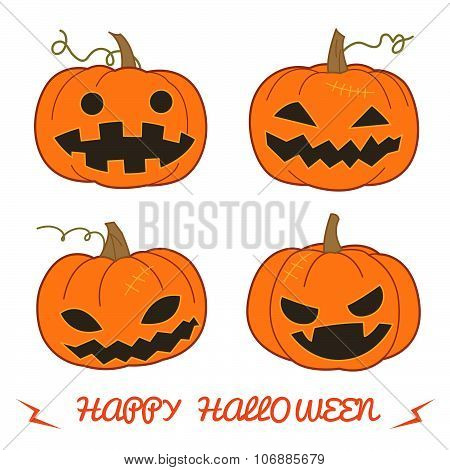Set Of Pumpkin For Halloween (jack 'o Lantern) In Various Styles Vector Format