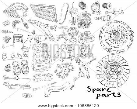 Big set of painted aftermarket spare parts for cars
