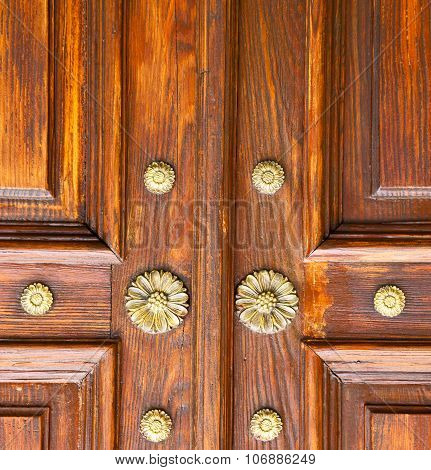 Brown Knocker In A   Closed Wood Door Crenna Gallarate Varese