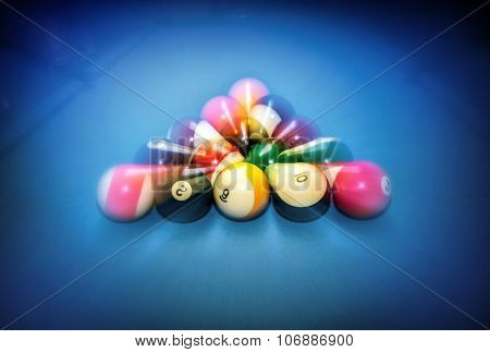 Billiard table vintage background, beginning of the game, slow motion technique, soft focus effect, hobby and sport concept