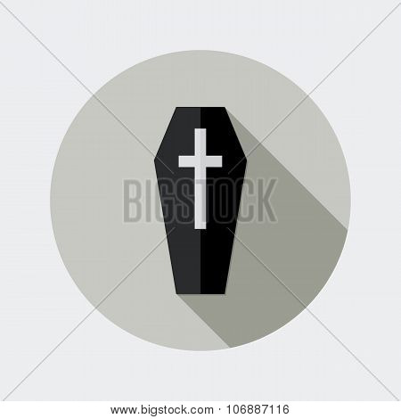 Flat design black coffin and cross icon with long shadow