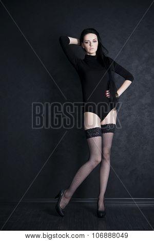 Beautiful Young Woman In Stockings
