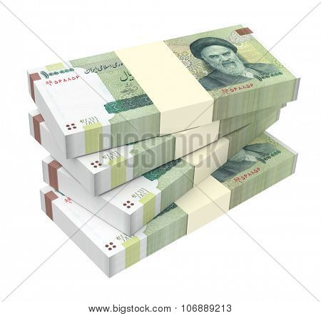 Iranian rials bills isolated on white background. Computer generated 3D photo rendering.