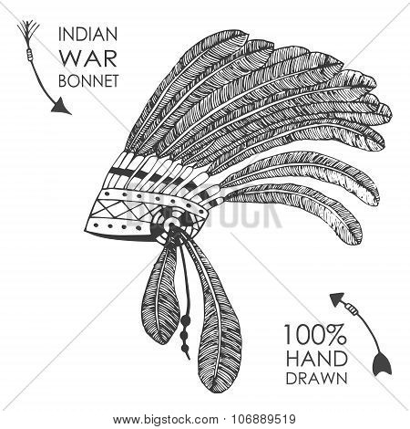 Hand-drawn native American indian chief headdress with feathers. Sketch style.