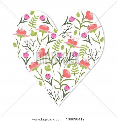 Cute Vintage Heart Shape With Flowers And Leaves