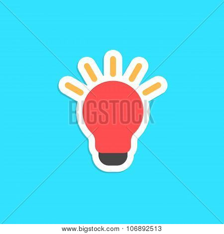 red bulb icon sticker isolated on blue background