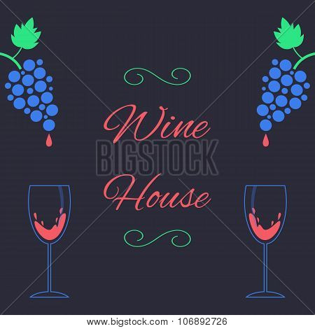 concept of wine house with bunch of grapes and wineglass