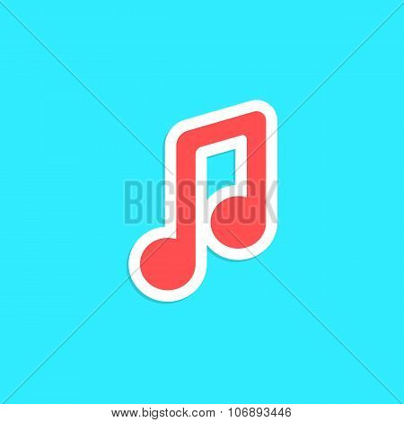 red musical note icon sticker