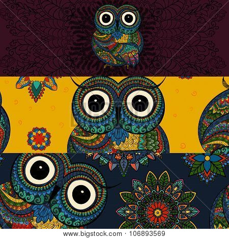 Set of banners in doodle ornamental style with ornamental owl. Beautiful frames and backgrounds