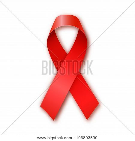 AIDS awareness red ribbon on white background.