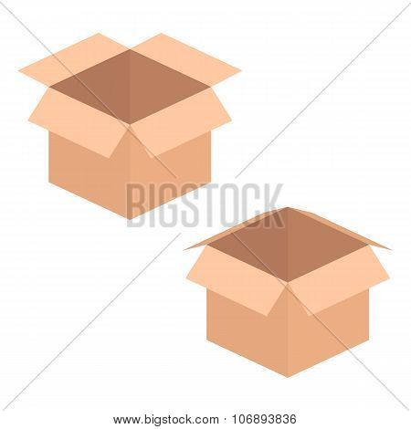 two opened boxes isolated on white background