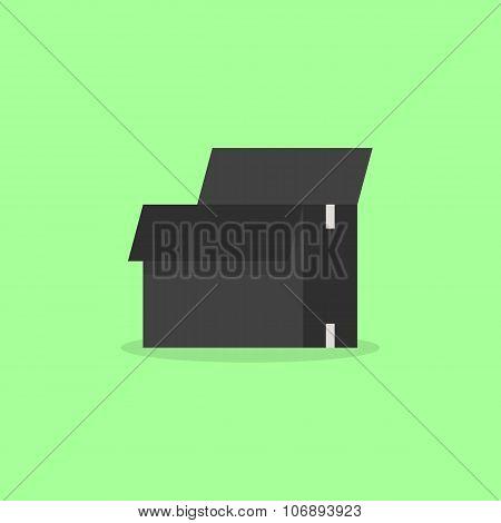 opened black box isolated on olive background