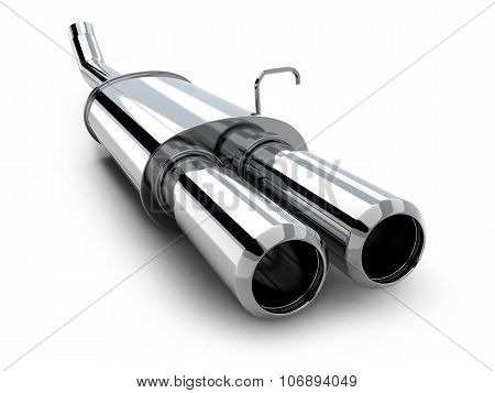Car Pipe Only On White Background