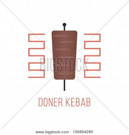 doner kebab logo isolated on white background