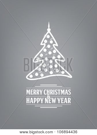 Christmas tree on a grey background with Merry Christmas and Happy New Year text
