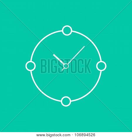 abstract white clock isolated on green background