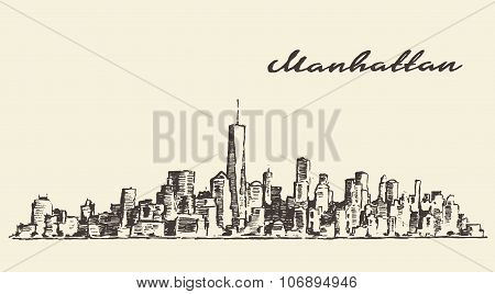 Manhattan New York illustration hand drawn sketch