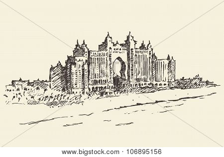 Atlantis Palm hotel Dubai United Emirates drawn