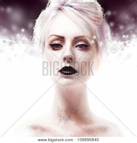 Snow Queen, creative closeup portrait of girl with black lips