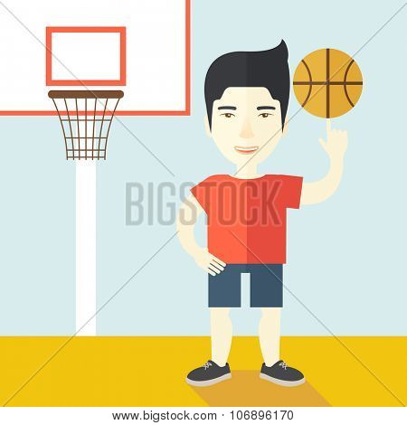 An asian professional basketball player spinning ball on his finger vector flat design illustration. Square layout.