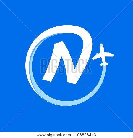 N Letter With Airline And Plane.