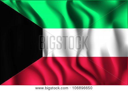 Flag Of Kuwait. Rectangular Shape Icon